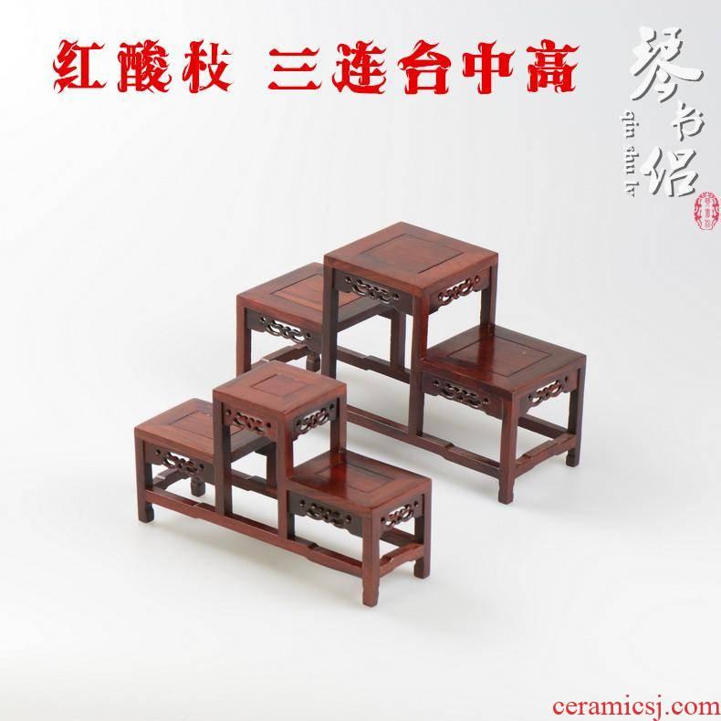 Pianology picking solid wood antique red acid branch sets two stupa pavilion tea teapot teacup stupa frame base