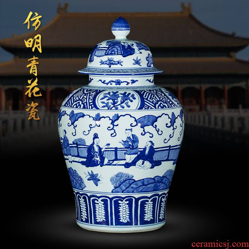 Jingdezhen ceramic floor big vase hand - made antique imitation Ming blue and white porcelain sitting room porch place large ornament