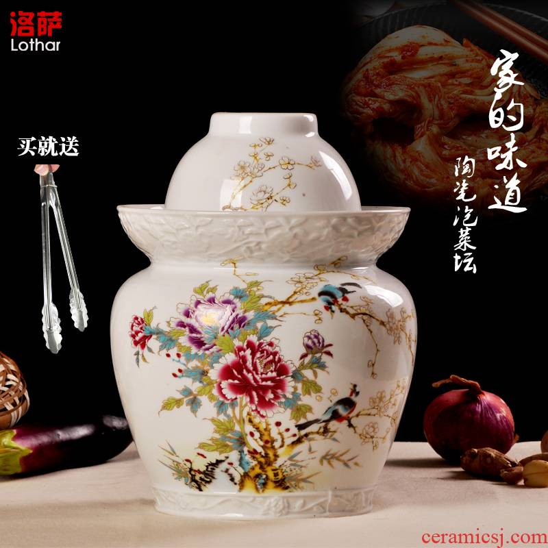 Jingdezhen ceramic jar of pickles pickled seal egg white double cover high cylinder storage jar jar sichuan food altar cylinder
