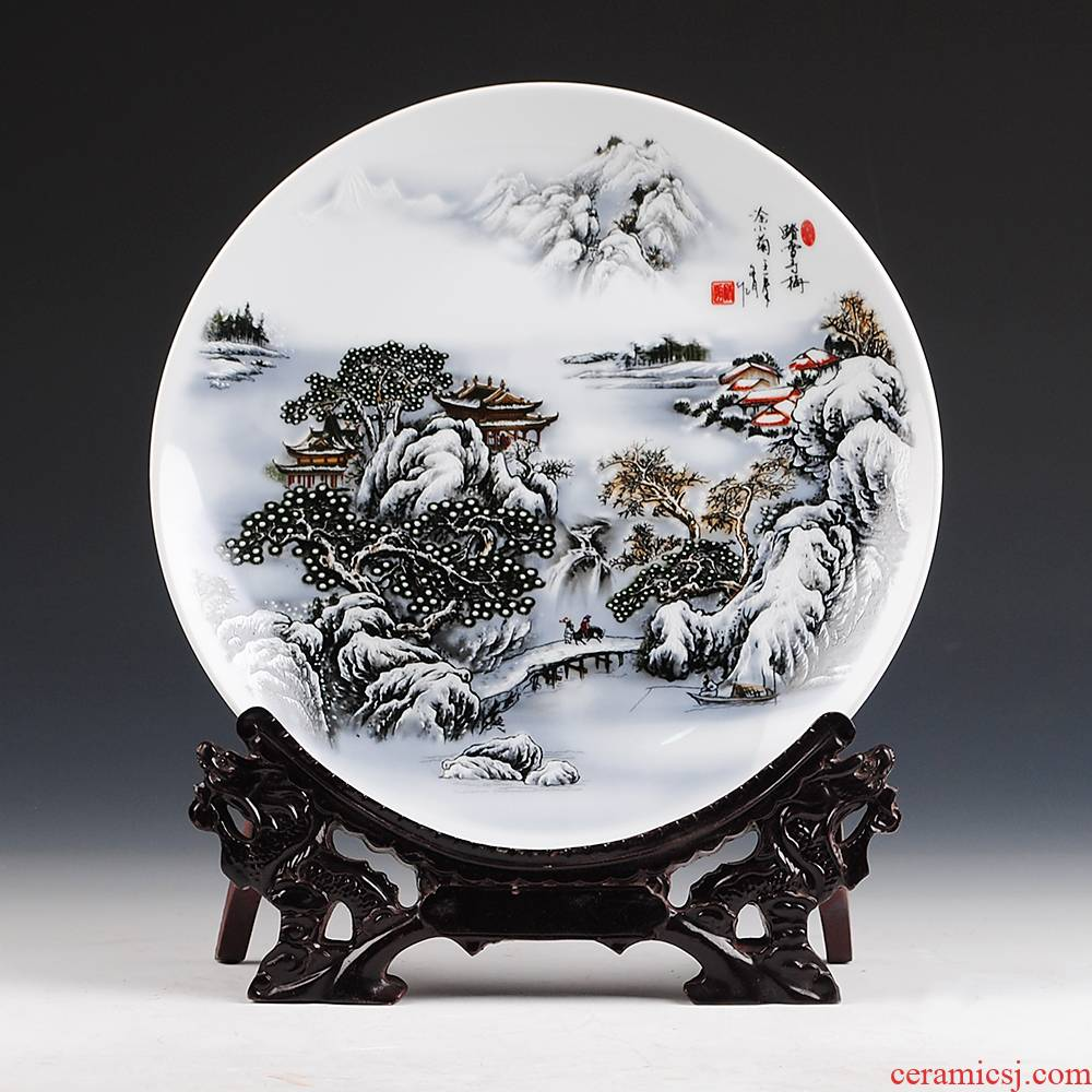 Jingdezhen ceramics found through the snow may hang dish plates of modern Chinese style household adornment handicraft furnishing articles