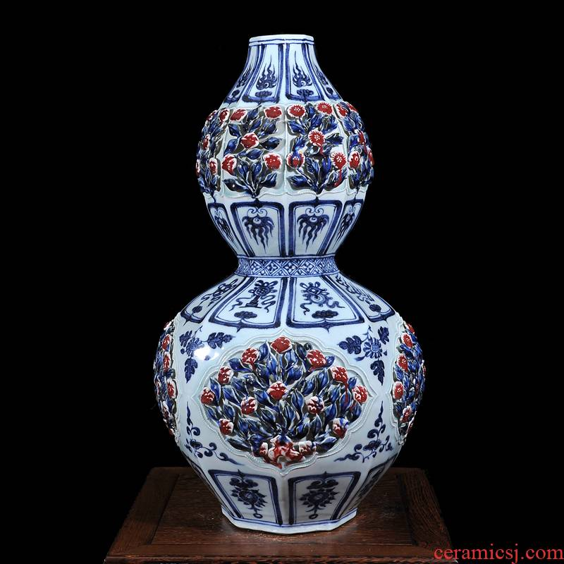 Jingdezhen ceramics imitation yuan and Ming blue and white youligong carved gourd bottle fashionable household decorative furnishing articles