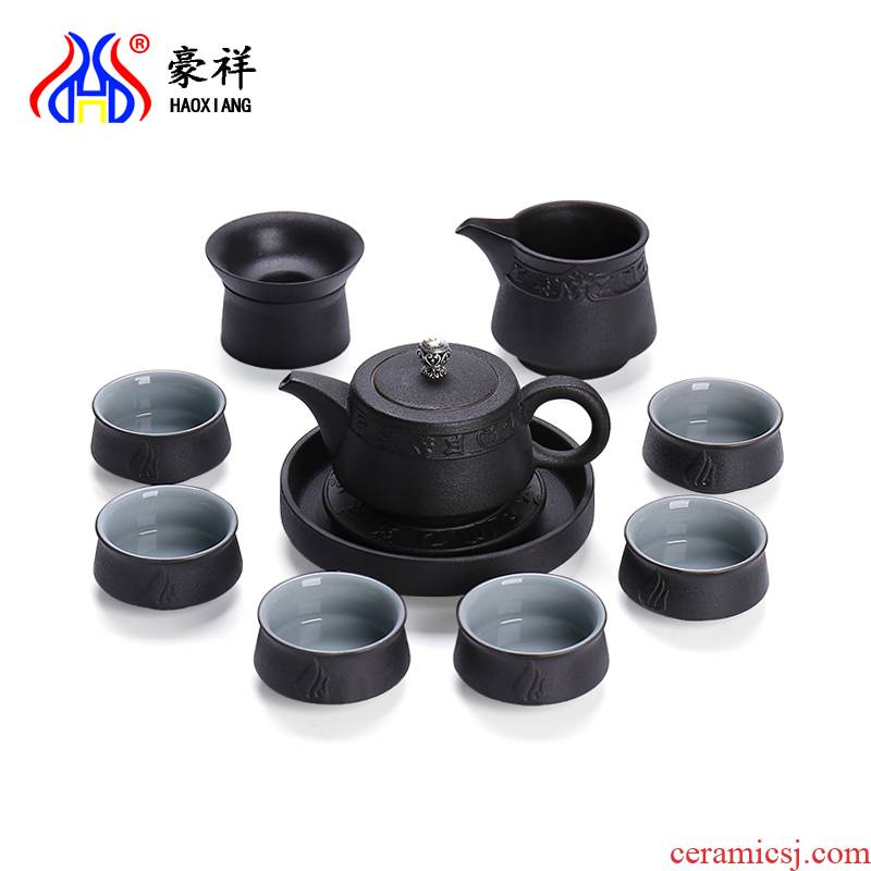 Howe auspicious household utensils sets coarse pottery kung fu tea set gift box, black pottery tea tureen teapot teacup