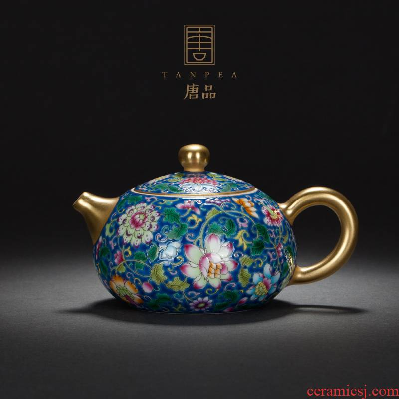 Jingdezhen ceramic send country gift all hand made bound lotus flower grain see colour pastel colored enamel xi shi pot little teapot