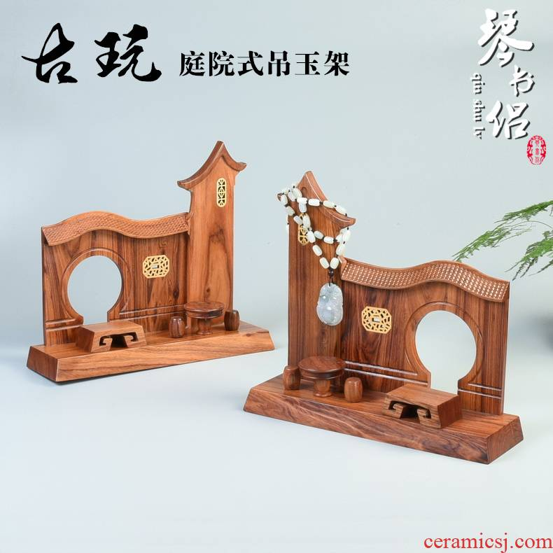 Wood carving handicraft substitutes rosewood quality hang jewelry jade frame crane, jade jade base solid Wood