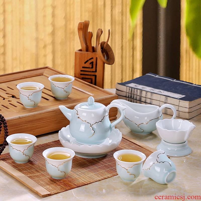 Eslite jingdezhen tea set celadon shadow green hand draw the see colour of a complete set of ceramic cups kung fu tea set gift