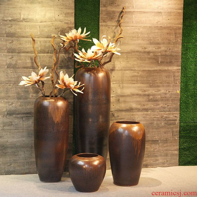Villa clubhouse theme between example of large vases, flower, flower implement ceramic porcelain vase creative furnishing articles in the living room