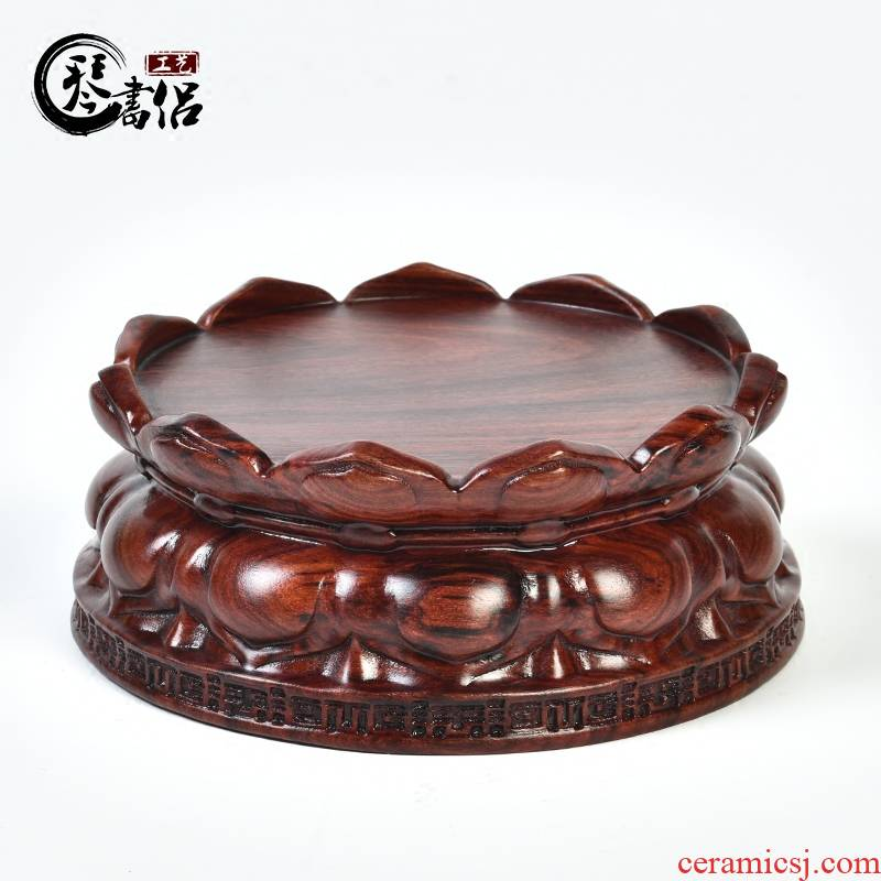 Red sandalwood lotus base solid wood round wooden jade penjing bodhisattva guanyin Buddha base vase base