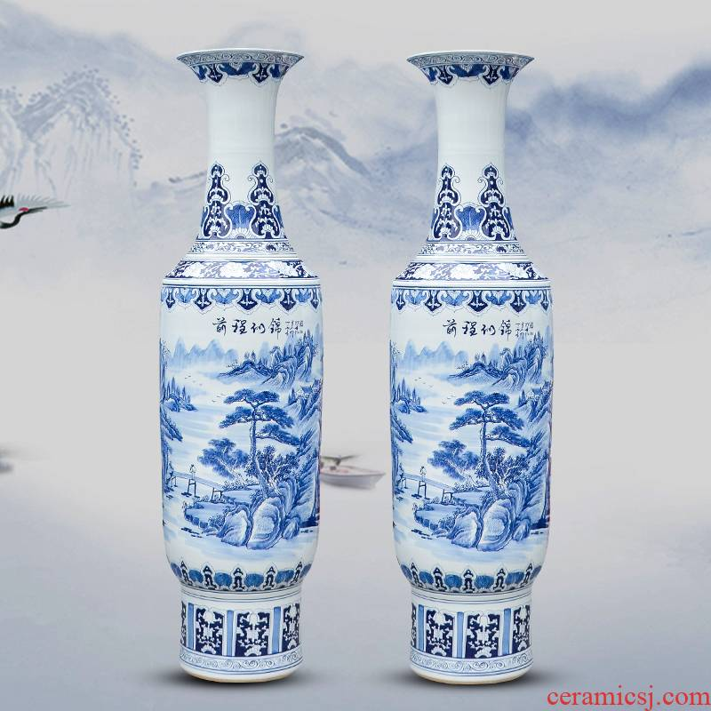 Jingdezhen ceramics hand large blue and white porcelain vase future living room decoration to the hotel lobby furnishing articles
