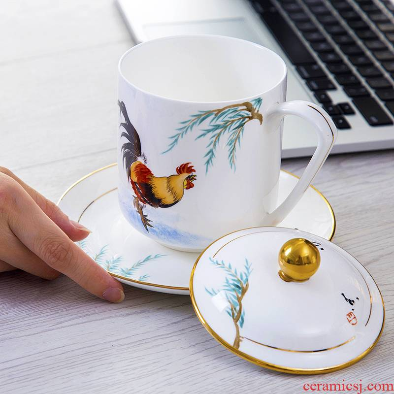 Jingdezhen creative new teacups hand - made paint time porcelain cup with cover ceramic tea set tea cups