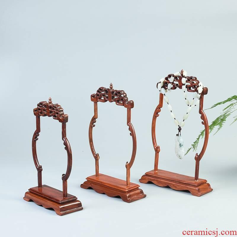 Pianology picking solid wood crafts show red sandalwood vase crane, solid wood antique jade jade frame base
