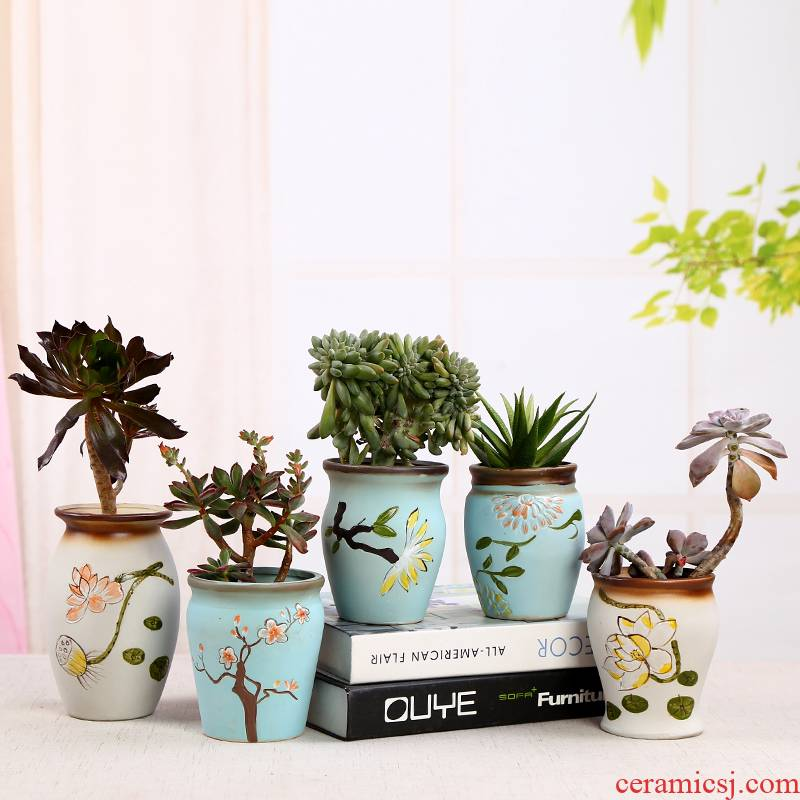 Hand - made meaty plant old running the flowerpot green plant a new ceramic vases, large vases, dry flower receptacle furnishing articles