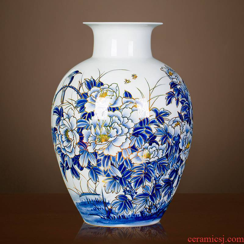 Jingdezhen ceramics hand - made paint peony vases, flower arranging new Chinese style home sitting room adornment porch place