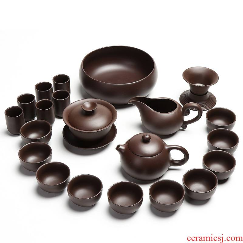 True sheng undressed ore old purple clay pot of tea set household kung fu tea tea tray teapot teacup of a complete set of accessories