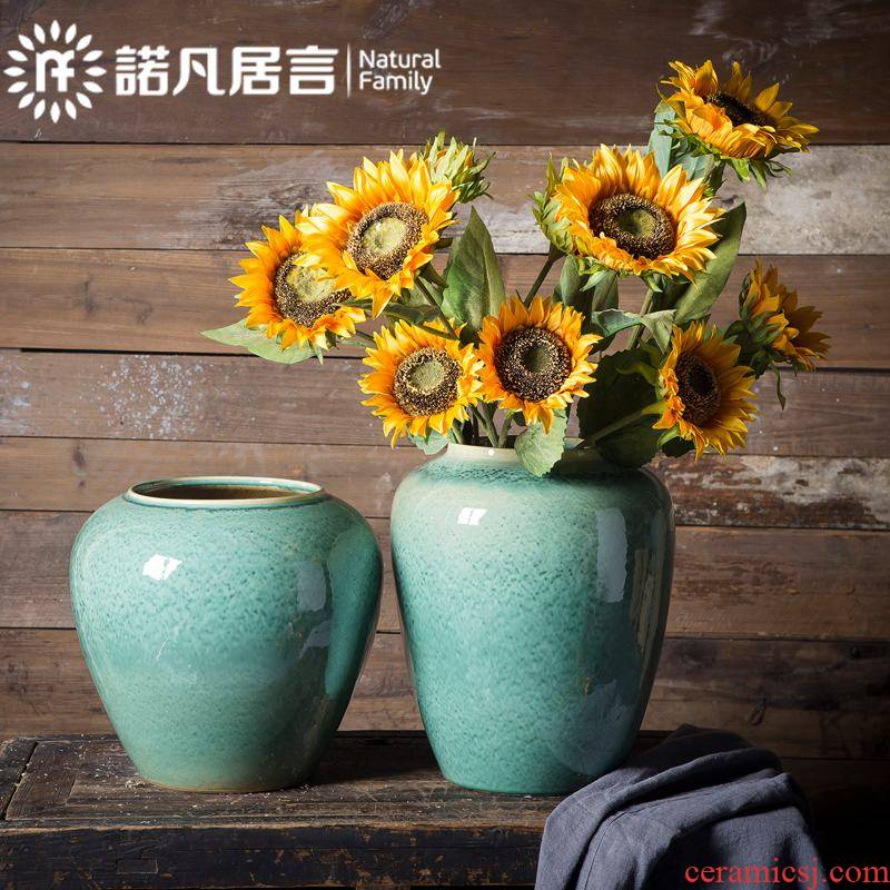 Jingdezhen ceramic vase mesa sitting room hotel villa decoration dry flower arranging flowers furnishing articles contracted and fashionable emerald green