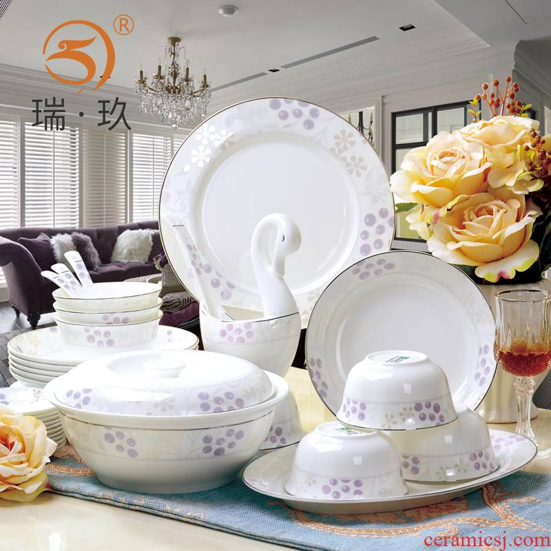 Chinese 56 skull porcelain tableware suit bowl dish dish contracted household ceramics tableware suit dishes cutlery set