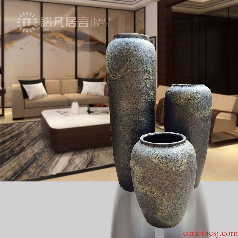 Large vases, ceramic dry flower arranging flowers color glaze up modern Chinese style living room hotel furnishing articles European - style villa