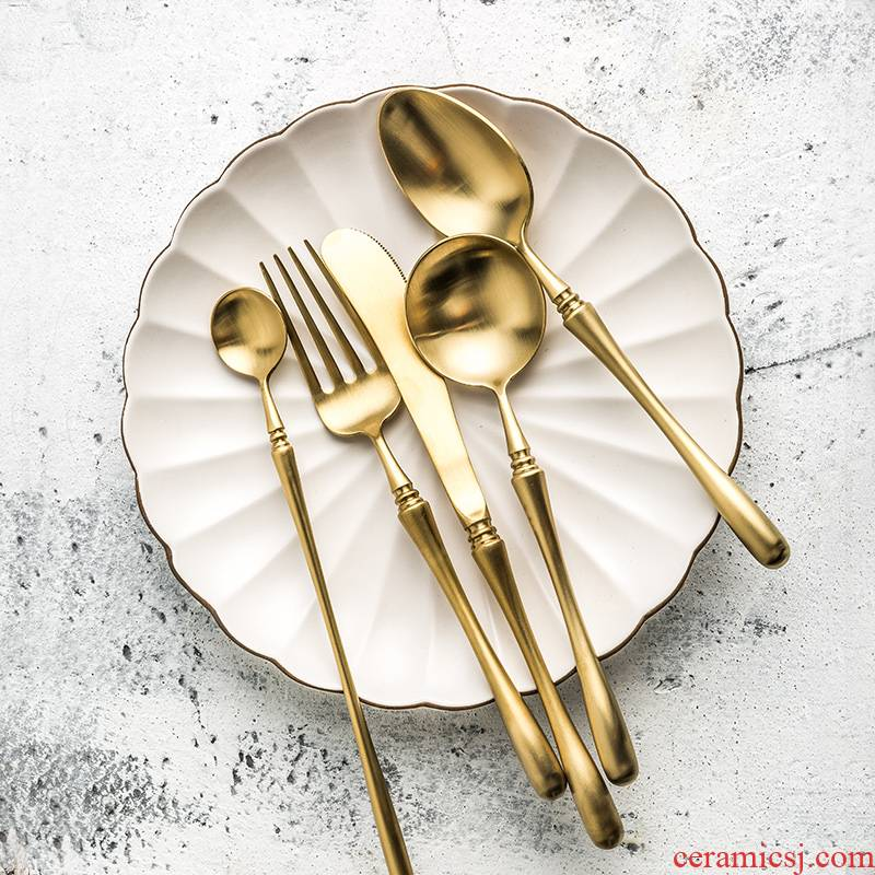 Porcelain soul household stainless steel steak knife and fork spoon, three - piece golden European move western - style food tableware dessert spoons