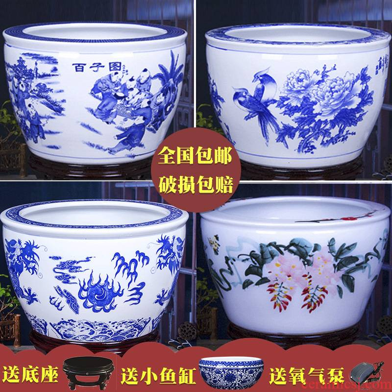Package mail jingdezhen ceramic flower pot goldfish bowl sitting room more hand - made bowl lotus lotus lotus cylinder cylinder