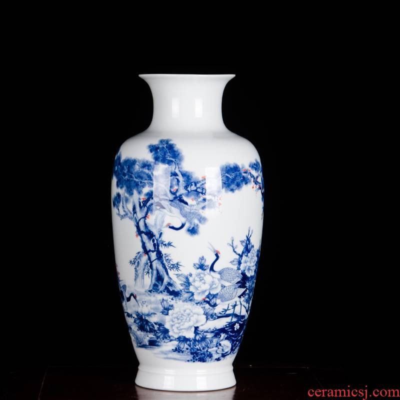 Jingdezhen ceramic famous blue and white porcelain vase furnishing articles pine crane, live rich ancient frame the sitting room of Chinese style household ornaments