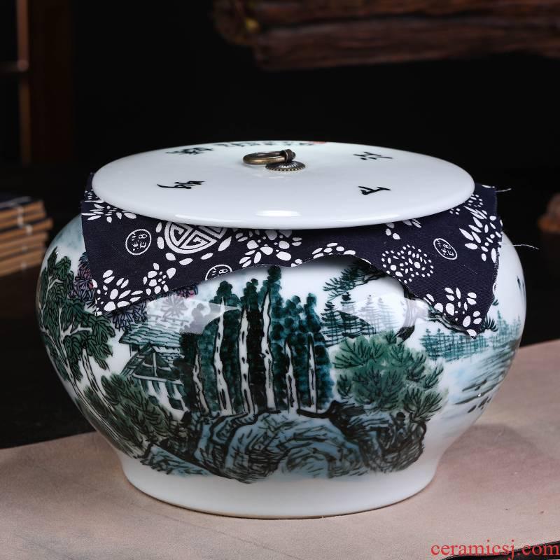 Jingdezhen ceramic blue and white porcelain tea pot pu 'er tea boxes home seven loaves seal storage tank