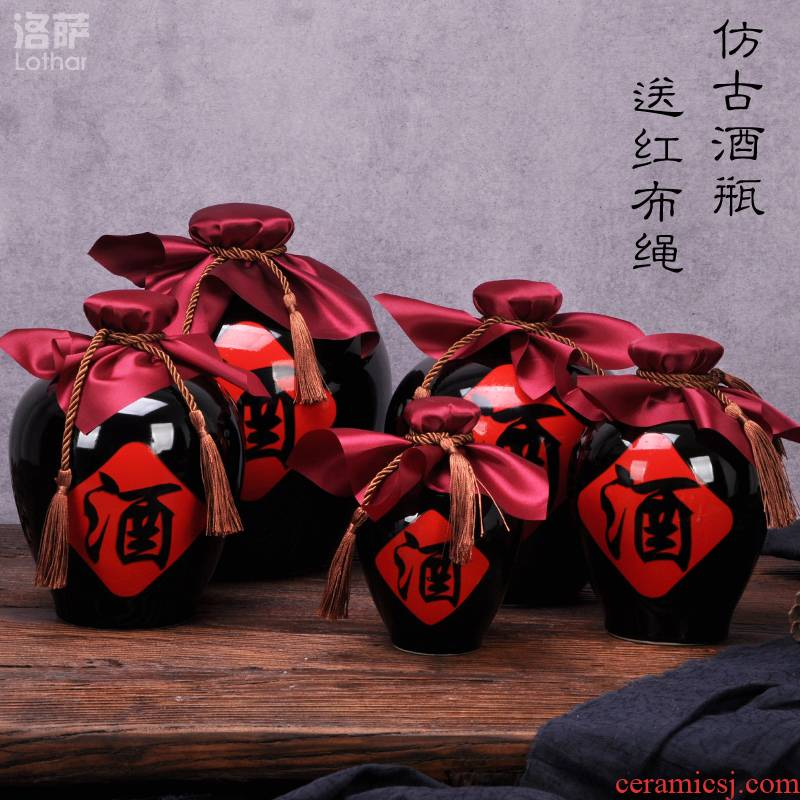 "Jingdezhen ceramic wine bottle 1 catty 2 jins of 3 kg 5 jins of 10 jins flagon sealed flask can ""bringing wine gift box"