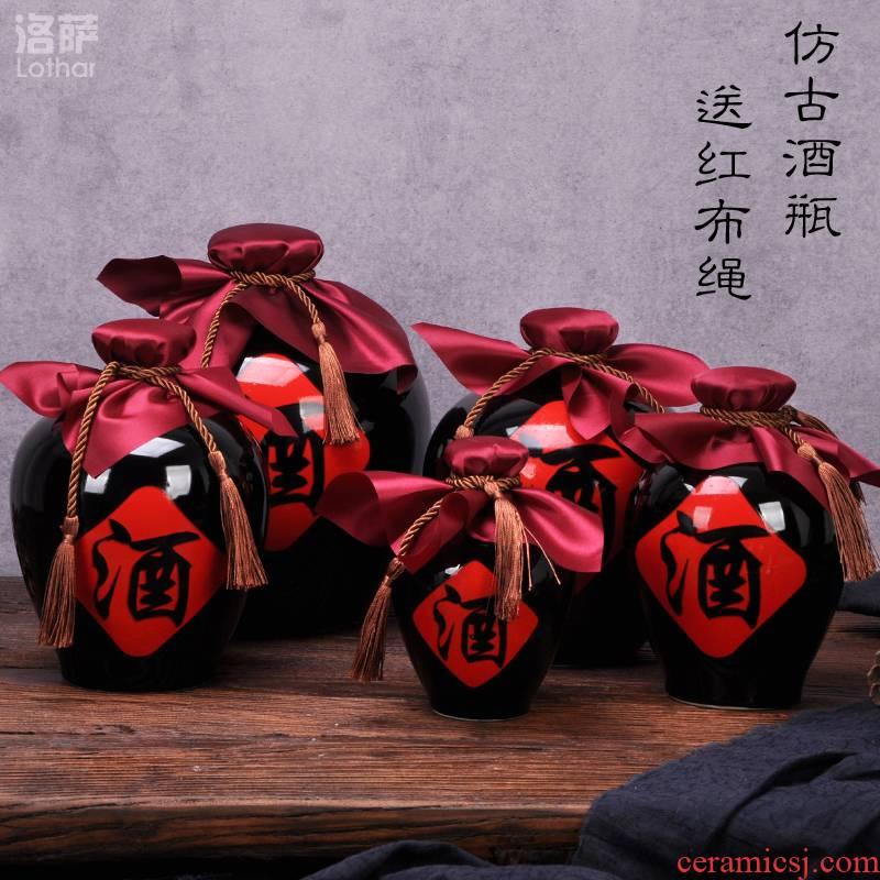 "Jingdezhen ceramic wine bottle 1 catty 2 jins of 3 kg 5 jins of 10 jins flagon sealed flask can ""bringing wine gift box"