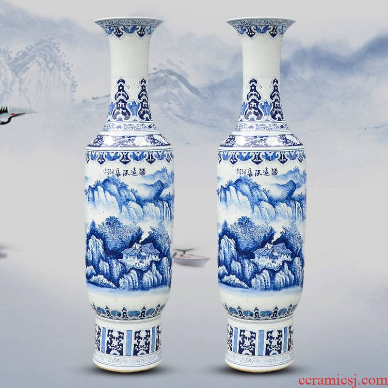 Jingdezhen ceramics has a long history in the hand of large blue and white porcelain vase hotel high sitting room adornment is placed