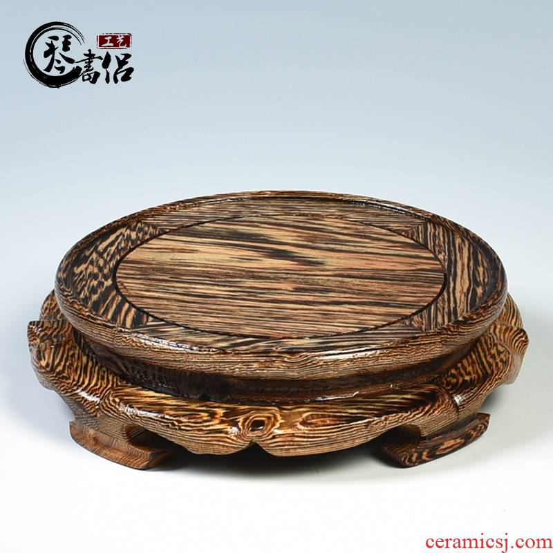 Chicken wings are it base papaya arris round base solid wood vase base wooden carved wooden furnishing articles base