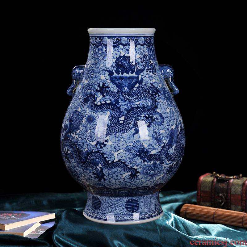 Jingdezhen ceramic vase high - end antique blue - and - white qianlong five three home decoration craft flower furnishing articles