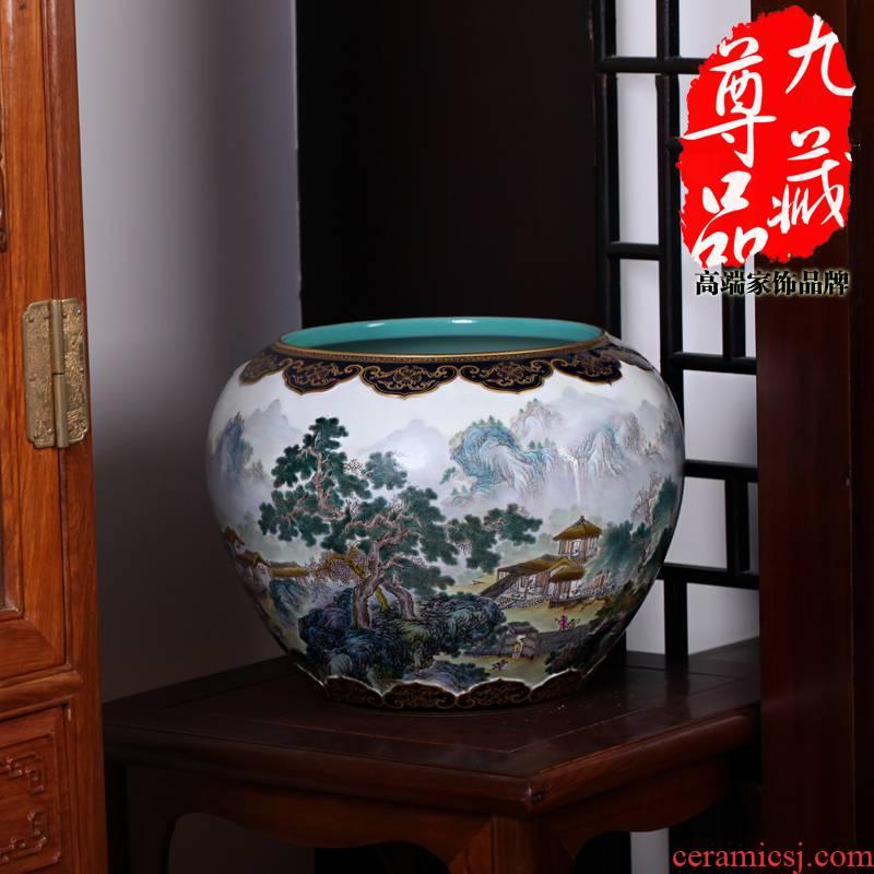 Jingdezhen ceramics imitation the qing qianlong pastel heavy industry landscape pattern pot vase household adornment handicraft furnishing articles