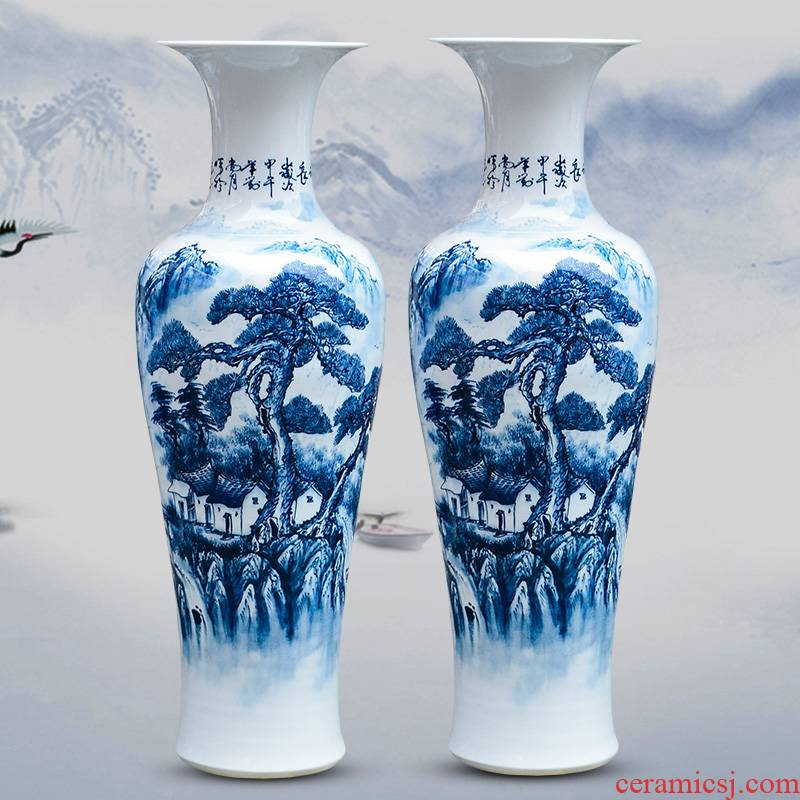 Jingdezhen ceramics has a long history in the masters hand draw the French blue and white porcelain vase sitting room hotel decoration furnishing articles
