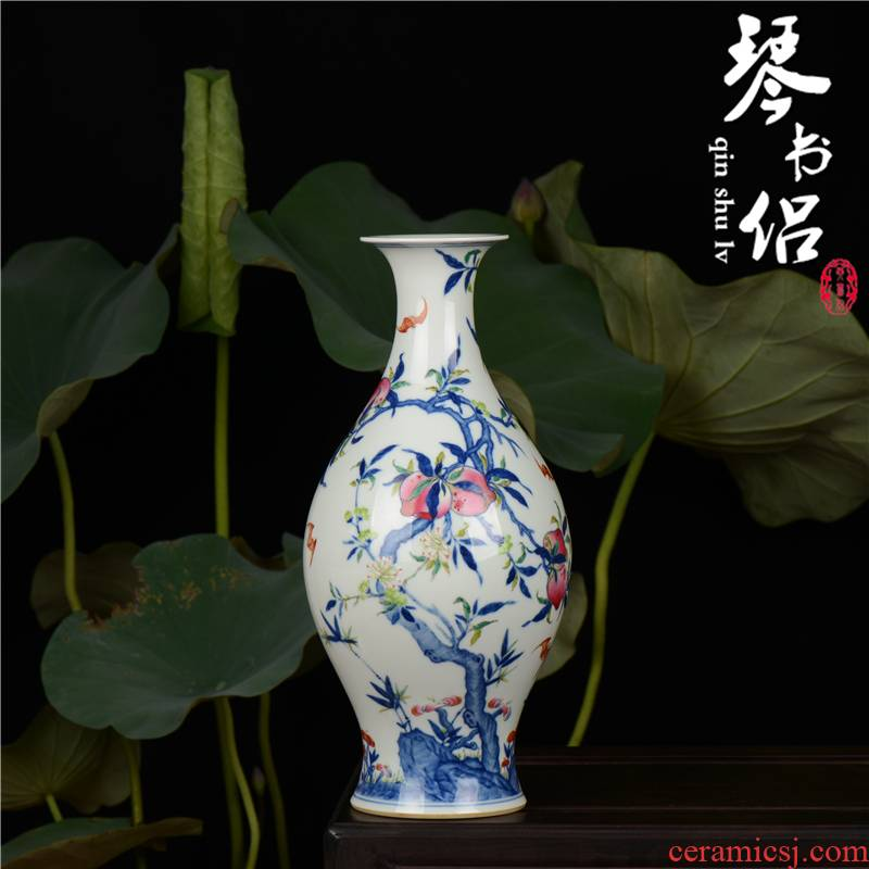 Pianology picking jingdezhen hand - made antique blue - and - white porcelain vases furnishing articles yongzheng add peach bats olive jar