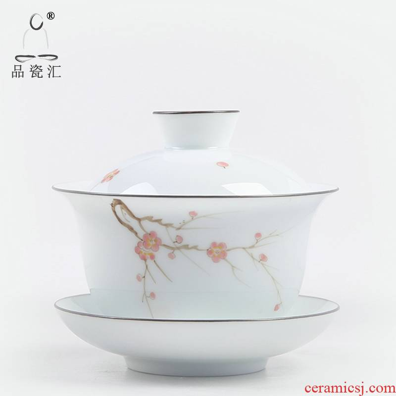 The Product porcelain sink tureen only three bowl of hand - made teacup manual kung fu new one cup tea, tea sets