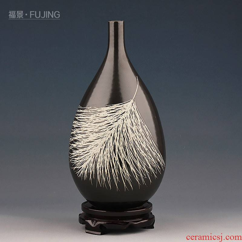 The scene home decoration ceramic plume water droplets of modern Chinese angel sitting room place flower arrangement craft vase