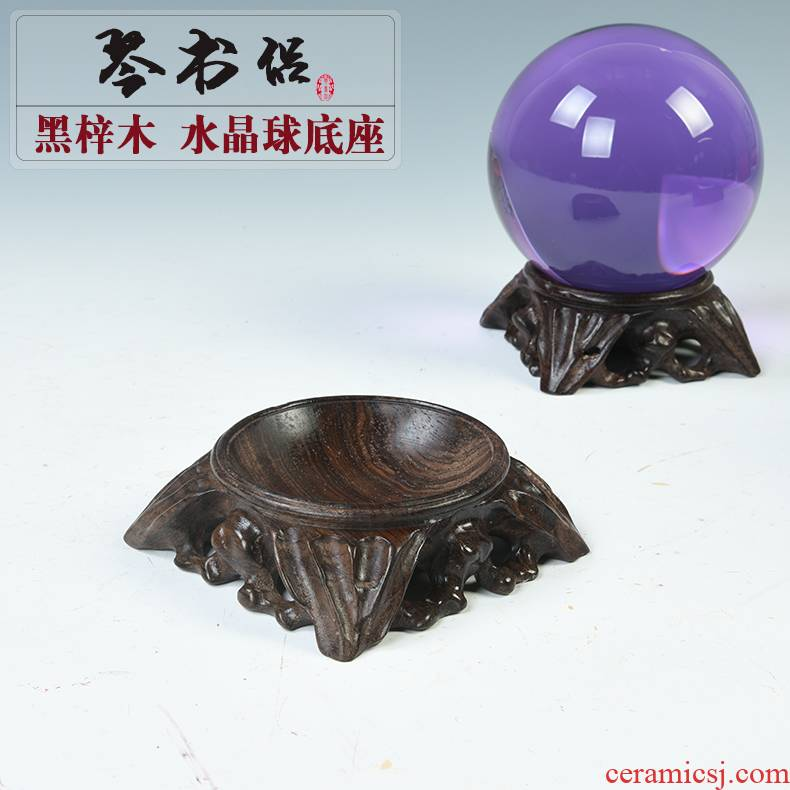 Ebony crystal ball base carved wooden base solid wood home decoration furnishing articles egg decorating seat gourd walnut base
