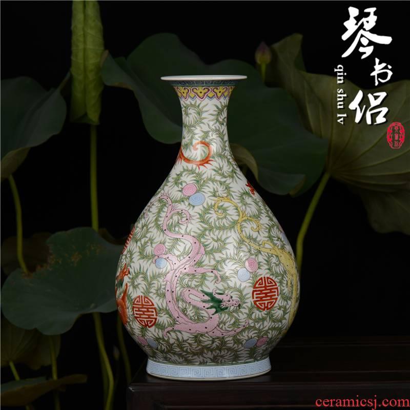 Pianology picking jingdezhen hand - made antique porcelain vases, home furnishing articles ssangyong grain grass dragon okho spring bottle