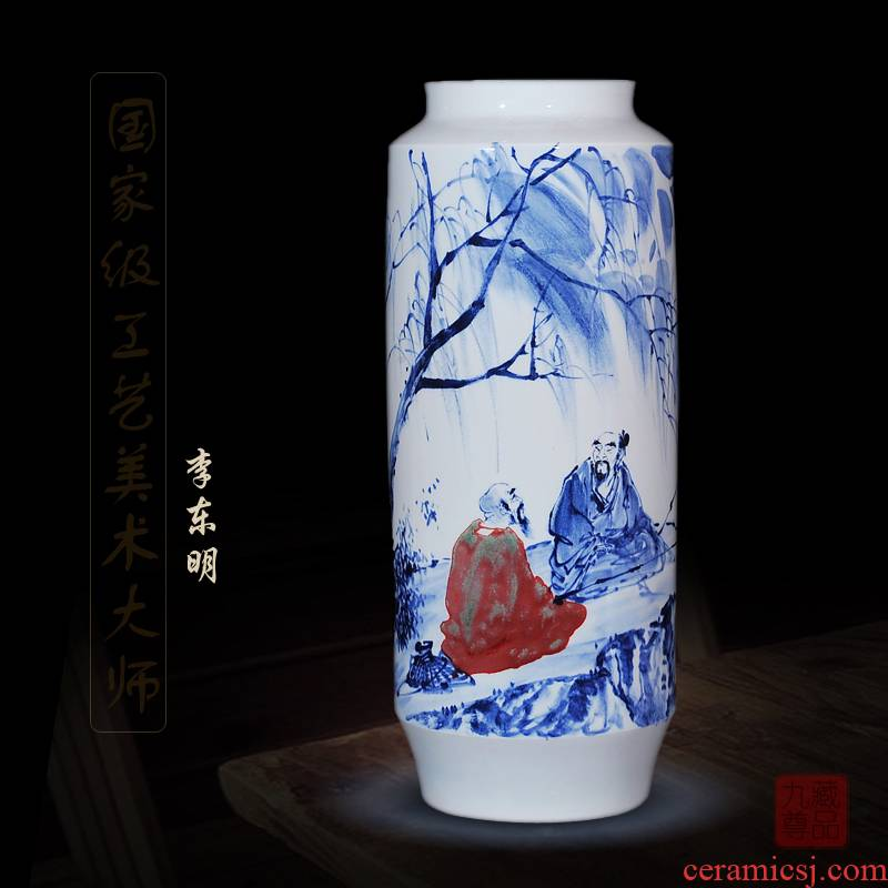 Jingdezhen ceramics dong - Ming li hand - made of blue and white porcelain vase fishing home sitting room handicraft furnishing articles