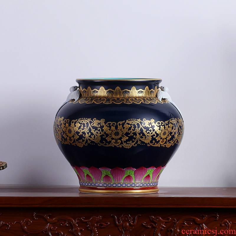 Jingdezhen ceramics ji to pastel blue paint wrap peony lines double yan ear vase sitting room furnishing articles