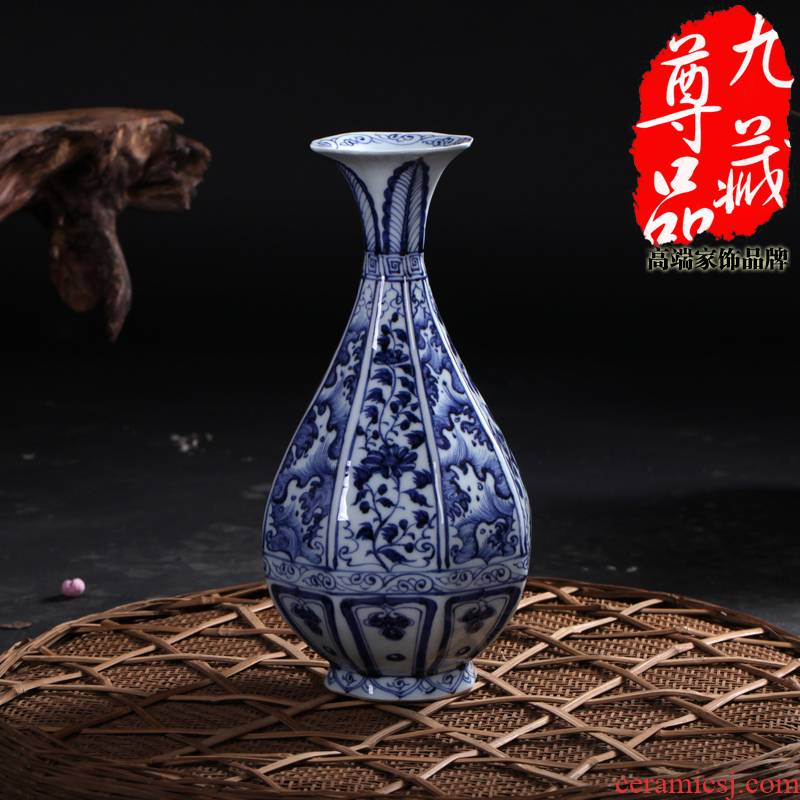 Jingdezhen ceramics antique blue - and - white eight arrises sea tangle branch lines okho spring vase household crafts