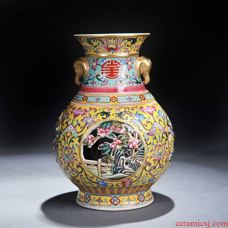 Archaize of jingdezhen ceramics colored enamel see colour revolving vase hollow out the process collection sitting room furniture furnishing articles