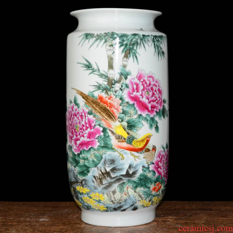 Jingdezhen ceramics vase peony pastel large Chinese style living room big flower arranging furnishing articles home decoration