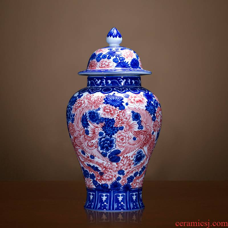 Jingdezhen ceramics antique vase youligong general canister to Chinese classical sitting room adornment is placed
