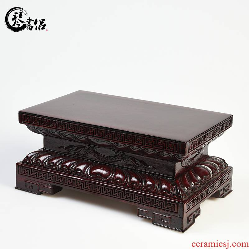 Carved wooden furnishing articles of handicraft mahogany base rectangular stone miniascape kong guanyin Buddha lotus base base