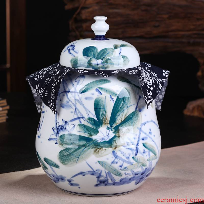 Jingdezhen ceramic POTS awake pu 'er tea caddy fixings large manual home box sealed storage tank
