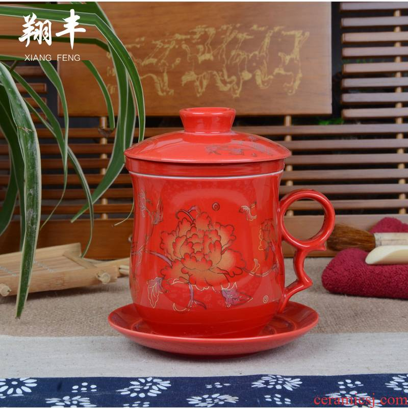Xiang feng porcelain keller cup ceramic cup with cover hotel office cup and meeting room hotel glass tea cup