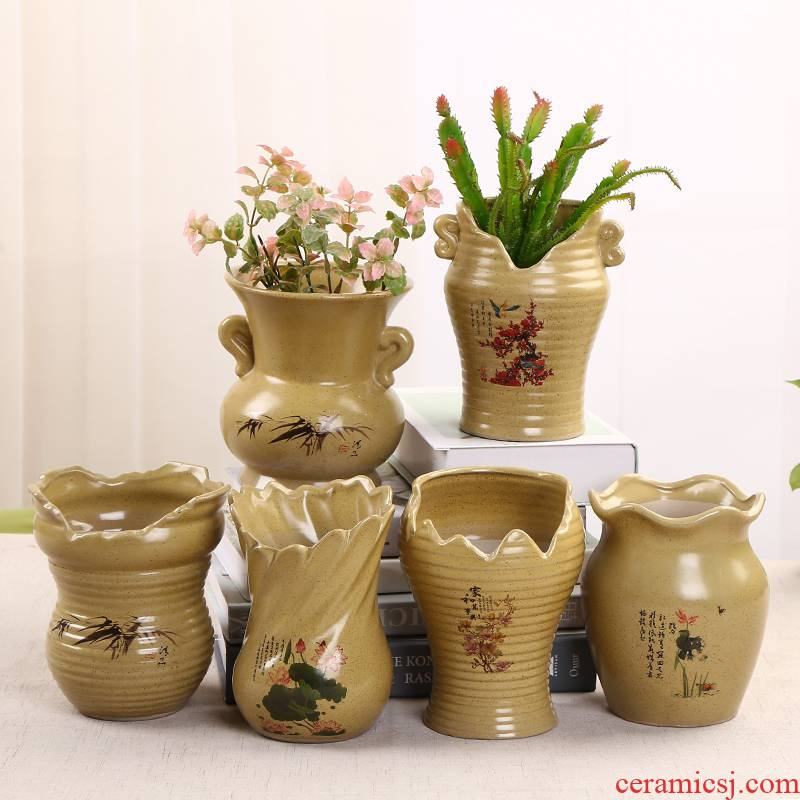 Move contracted fleshy flower pot green plant pot ware has high running with large old ceramic flower POTS dry flower vase