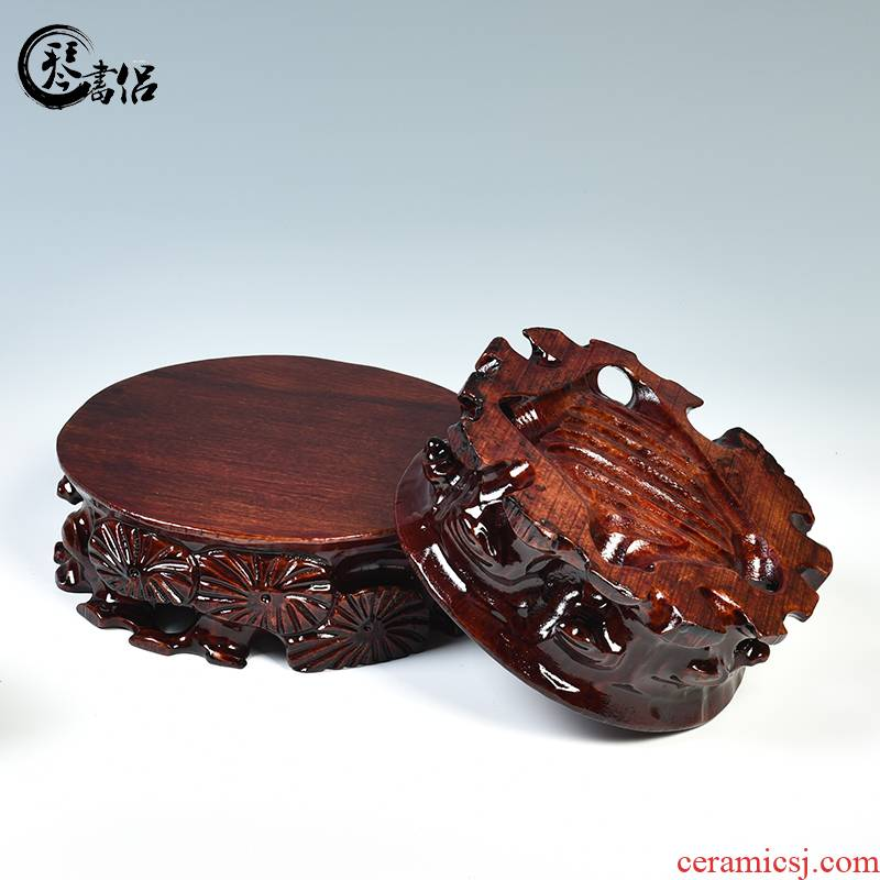 Pianology picking are it base round solid wood flowerpot furnishing articles of handicraft base tea base stone base