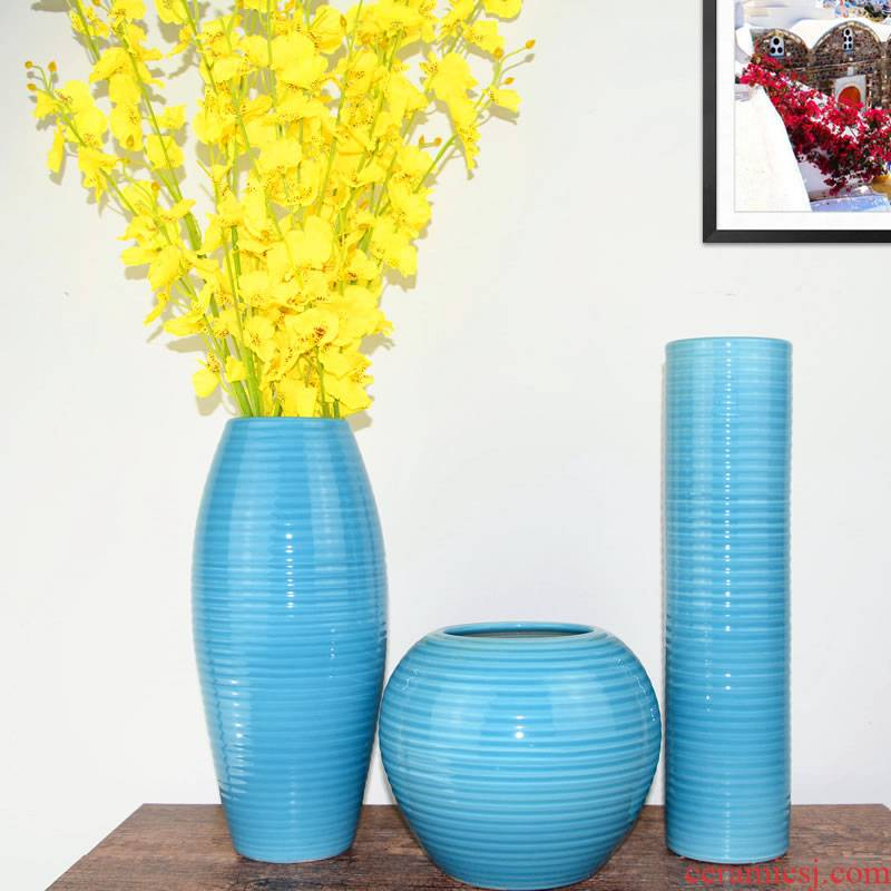 Jingdezhen ceramic Mediterranean style blues blue vase three - piece sitting room is contracted flower adornment furnishing articles