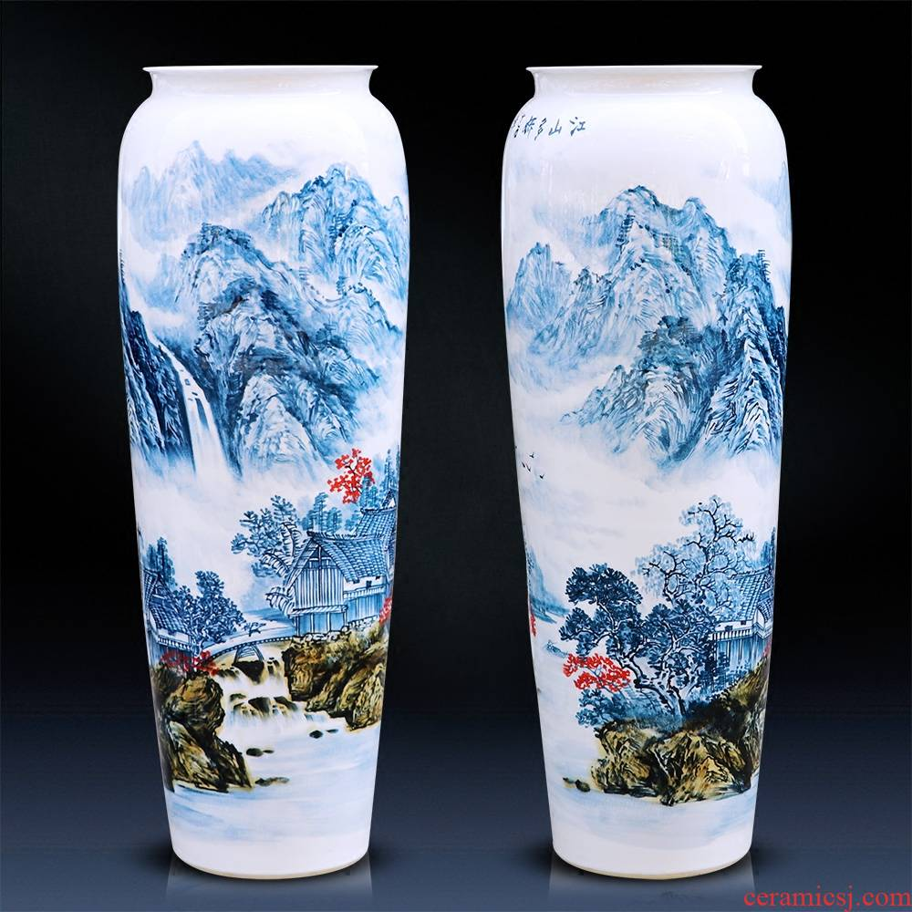 Jingdezhen landing big hand blue and white porcelain vases, ceramic large sitting room place flower arranging, decorative arts and crafts