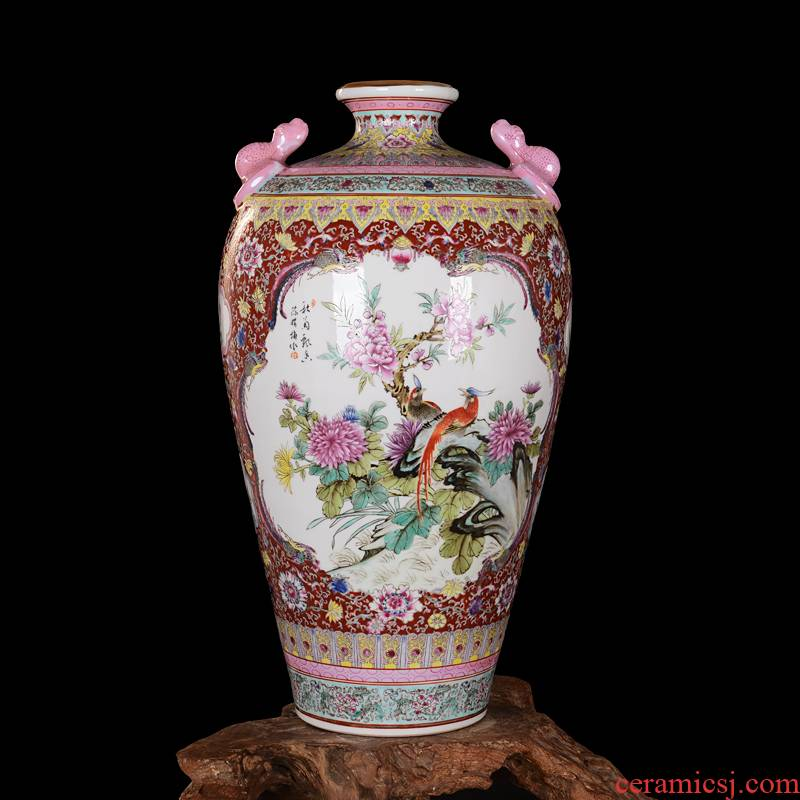 Jingdezhen high - end antique hand - made ceramics powder enamel vase furnishing articles sitting room decoration home decoration process